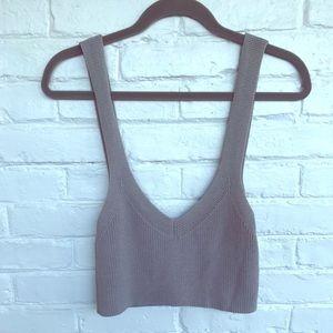 Light grey knit crop top